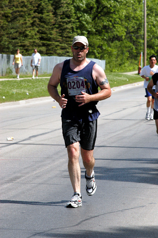 215-220 pound on the Manitoba Marathon in 2005 about mile 20 - finished in 4 hrs 15 min