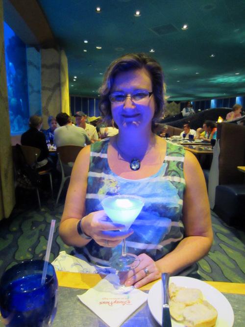 glowing blue drink at Coral Reef