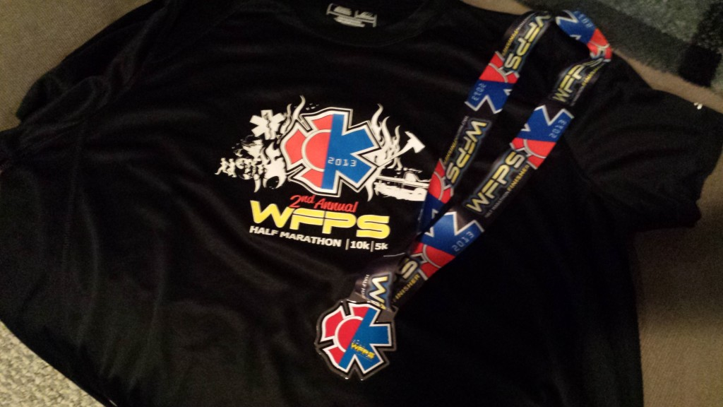 WFPS half marathon shirt and medal
